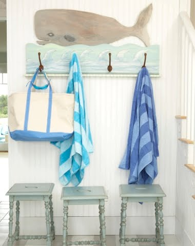 nautical entryway idea with whale coat rack