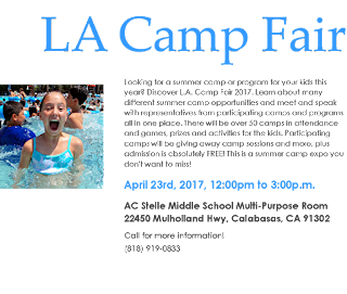 L.A. Camp Fair descriptive text with happy camper girl swimming in a pool at summer camp