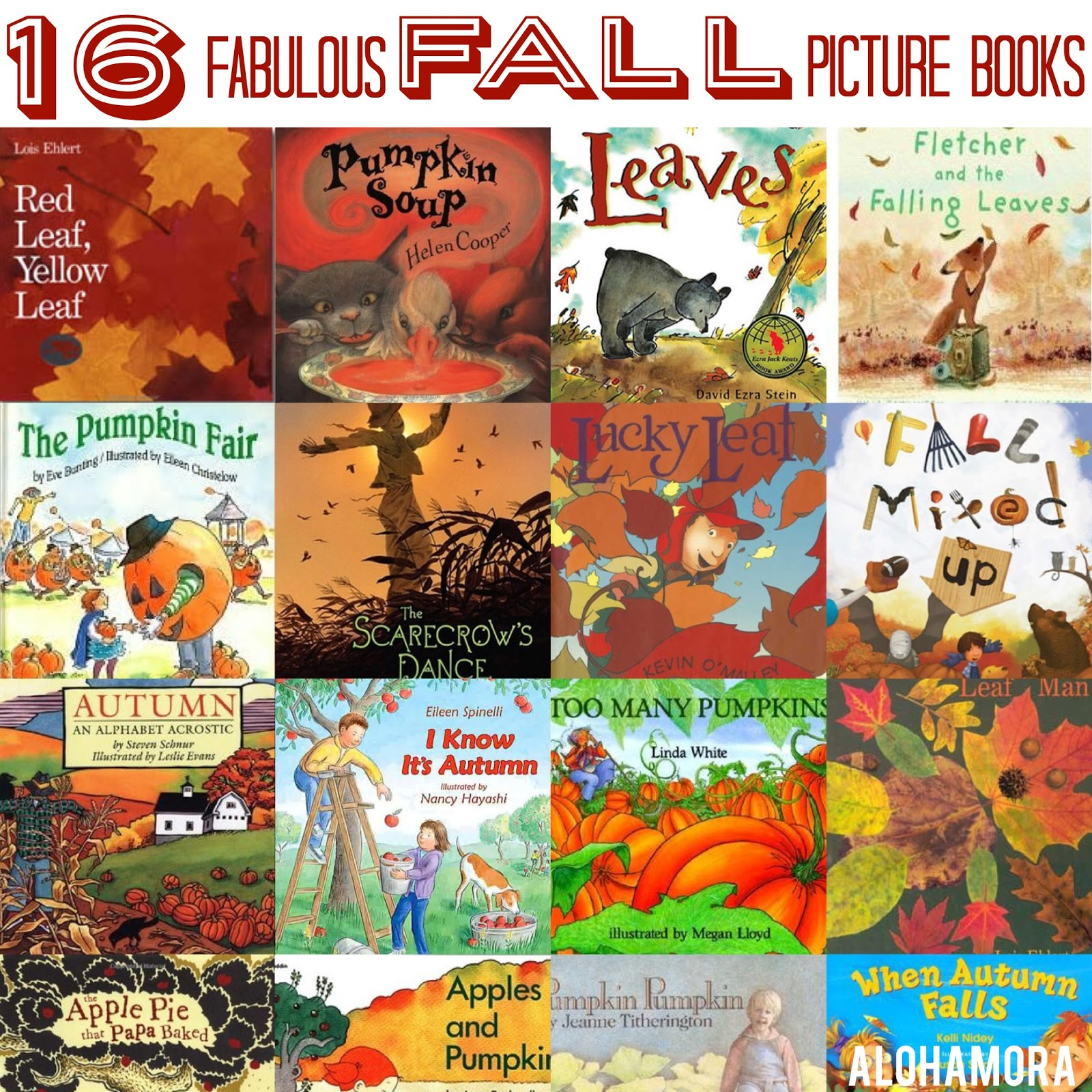 16 Fabulous Fall or Autumn Picture Books for parents to love to read, teachers to use with lessons (tons of ideas included in the list), and librarians to put on display as well as use in lessons.  Books all dealing with apples, leaf, leaves, pumpkins, scarecrows, alphabet poetry, life cycles,  fairs, and so much more.  Alohamora Open a Book http://alohamoraopenabook.blogspot.com/
