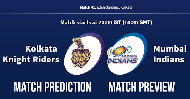 IPL 2018 Match 41 KKR vs MI Match Prediction, Preview and Head to Head Who Will Win