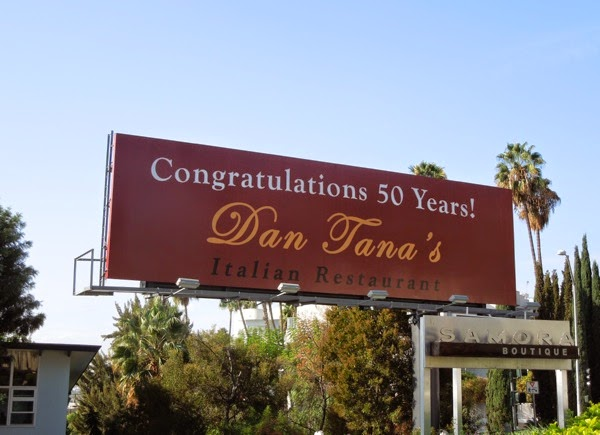 50 years Dan Tana's restaurant billboard