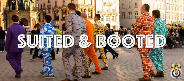 Stag Party dressed up in funny suits in Prague