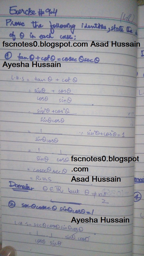FSc ICS FA Notes Math Part 1 Chapter 9 Fundamentals of Trigonometry Exercise 9.4 Question 1 - 5 by Asad Hussain & Ayesha Hussain