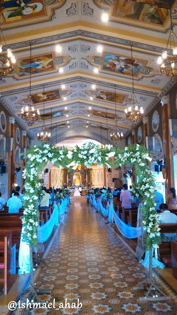 Wedding arch and wedding decorations in Our Lady of the Abandoned Church in Marikina CIty