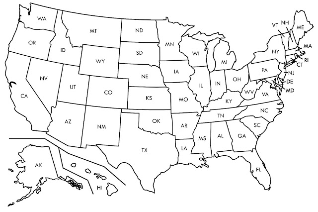 USA Blank Map with States