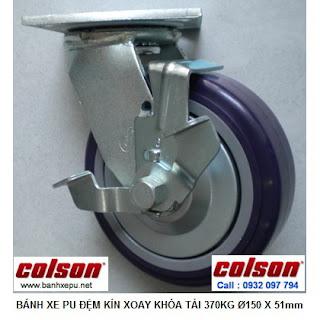 Bánh xe xoay có khóa nhựa PU phi 150 chịu lực 370kg | S4-6209-925P-B3 www.banhxepu.net