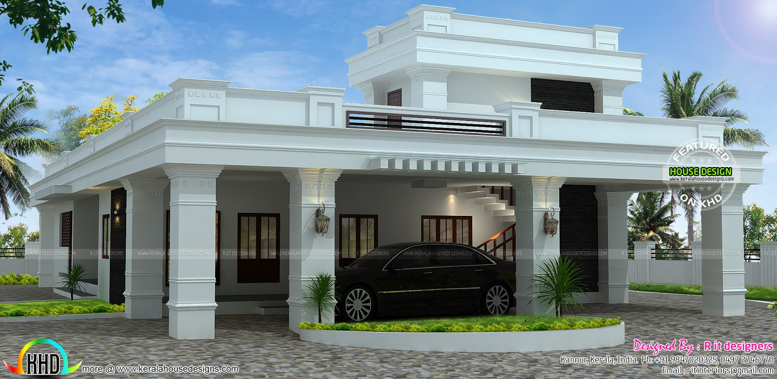 Single floor decorative flat roof house kerala home House plan flat roof design