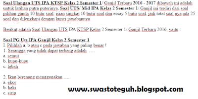 Soal Ulangan UTS IPA KTSP Kelas 2 Semester 1/ Ganjil Terbaru 2016 - 2017