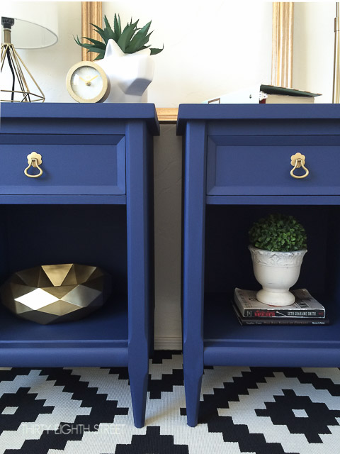 bedside table makeover, modern nightstands, gold hardware, painted nightstand, blue modern nightstand