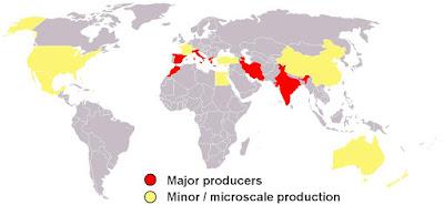 azafran producción mundial