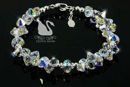 Crystal Ice Rockin' Rondelle Sterling Beaded Crystal Allure Bracelet (B191)