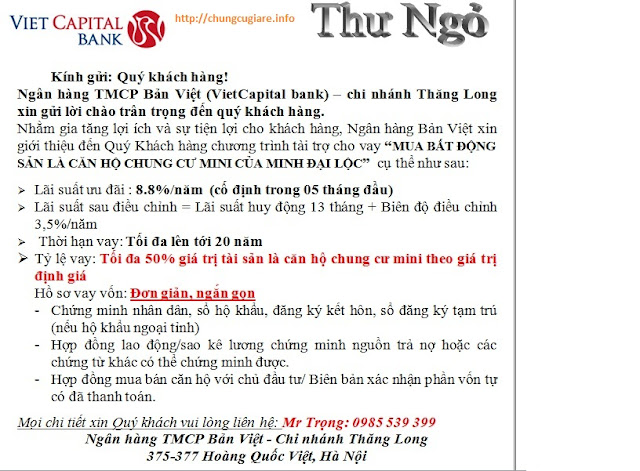 hỗ trợ Ngân hàng vay mua chung cư mini Minh Đại Lộc