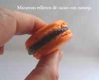 macarons rellenos de cacao con naranja
