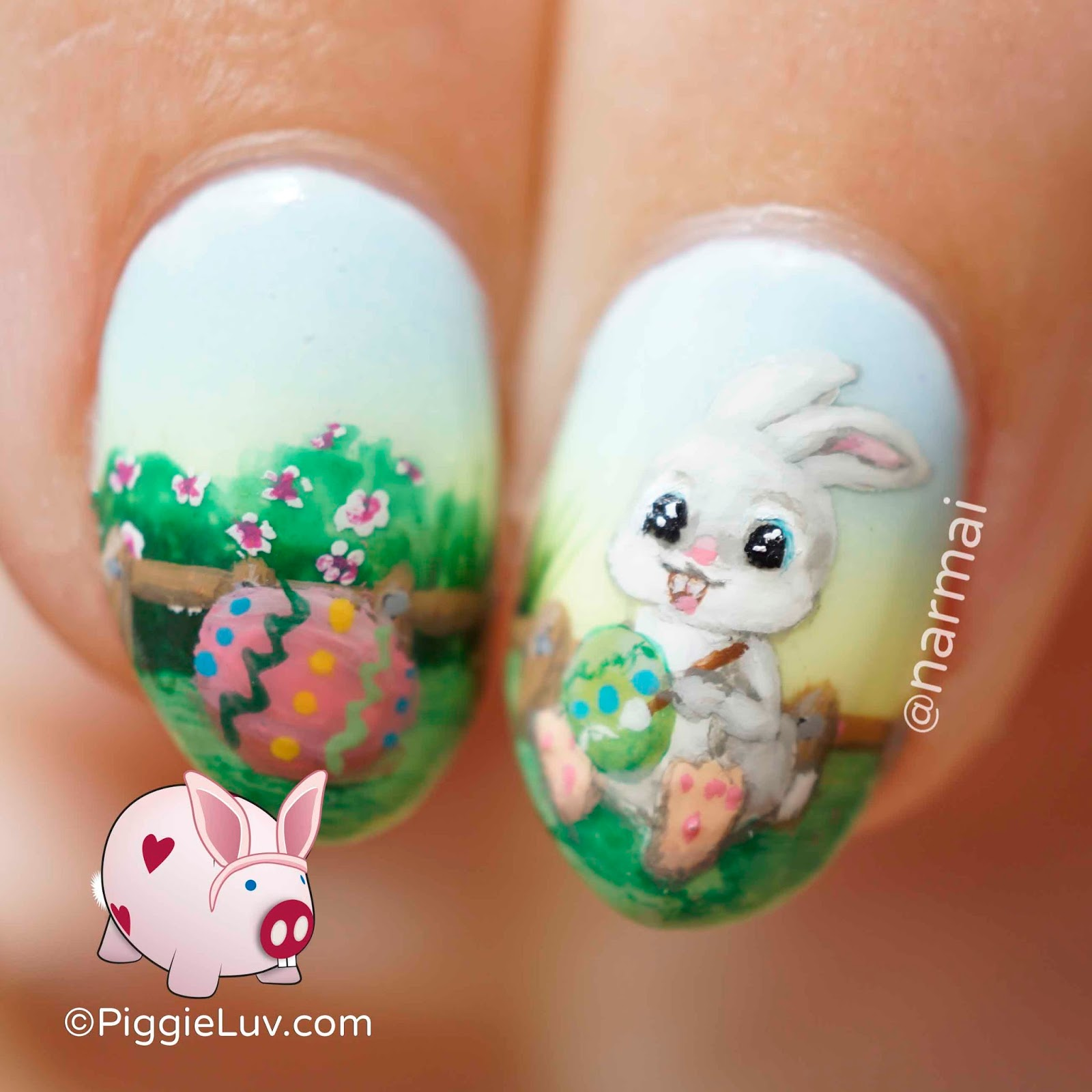 piggieluv painting easter eggs nail art