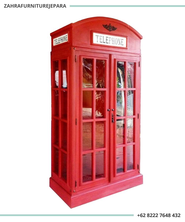 LEMARI PAKAIAN TELEPHONE 2 PINTU VINTAGE