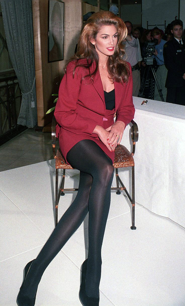 Celebrity Legs and Feet in Tights: Cindy Crawford`s Legs