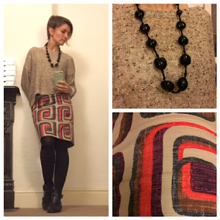 Topshop jumper and Boden retro print skirt