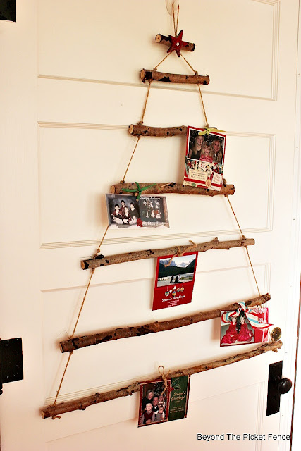 card holder, rustic, twig tree, branches, christmas ideas, DIY, rustic christmas, http://bec4-beyondthepicketfence.blogspot.com/2015/11/12-days-of-christmas-day-2-twig-tree.html