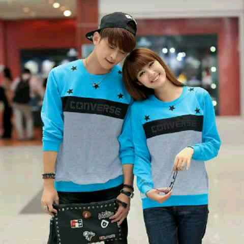 Jual Online Sweater Star Converse Turquise Misty Murah Jakarta Bahan Babytery Terbaru
