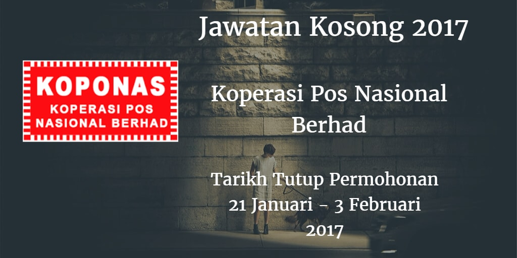 Jawatan Kosong KOPONAS 21 Januari - 03 Februari 2017
