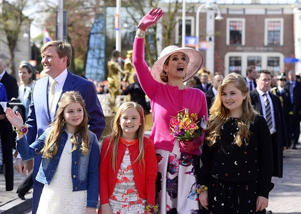 King Willem-Alexander, Queen Maxima, Princess Amalia, Princess Alexia and Princess Ariane, Princess Laurentien attend the 2016 Kings Day celebration in Zwolle