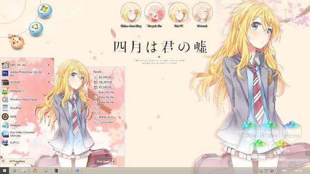 Windows 8.1 Theme Shigatsu wa Kimi no Uso by Bashkara