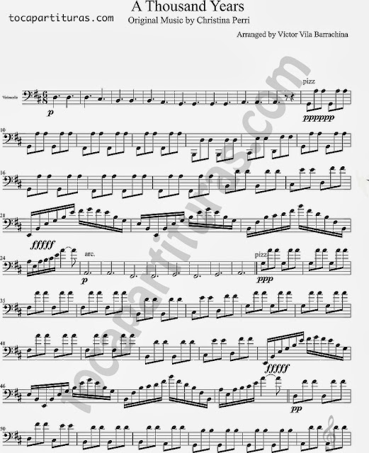 Partitura de A Thousand Years para Violonchelo Sheet Music for Cello