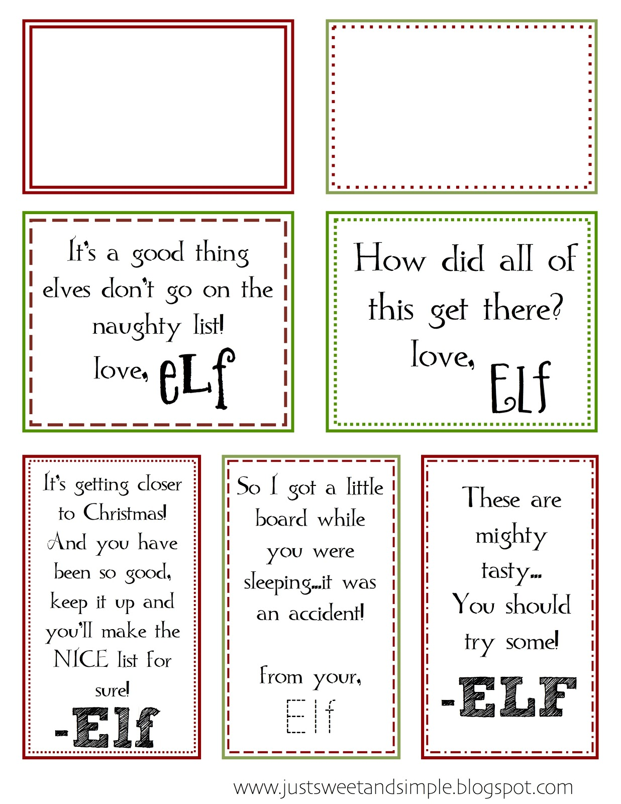 Just Sweet And Simple Printable Elf On The Shelf Notes