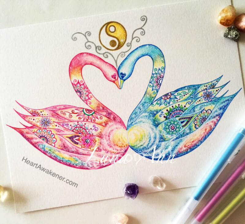 Twin Flame Swan Drawing by Luna Ahn