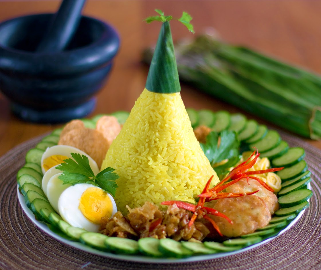 nasi kuning turmeric rice yellow for tumpeng