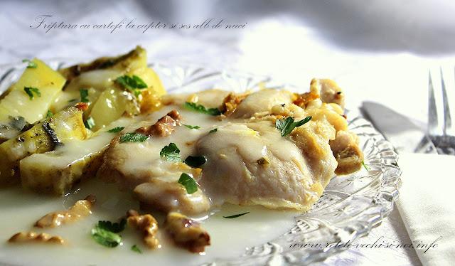 Pulpa de pui la gratar cu sos de nuci si cartofi cu rozmarin
