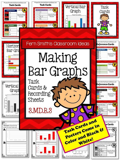 Fern Smith's Classroom Ideas Making Bar Graphs Task Cards with Common Core at TeachersPayTeachers.