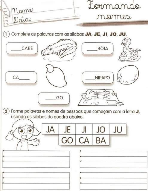 Atividades Com A Consoante J 1001 Maneiras De Alfabetizar