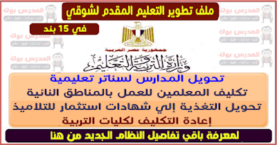 بنود تطوير التعليم الـ15 بند المقدمة للدكتور طارق شوقي