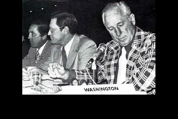 L to R: Coach Jim Anderson, Chief Scout Red Sullivan, and GM Milt Schmidt stock their roster at the June expansion draft in Montreal (Book Pg. 8)