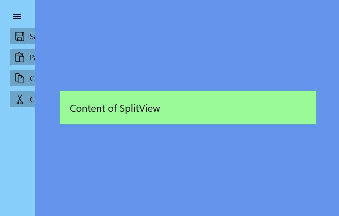 UWP - SplitView example