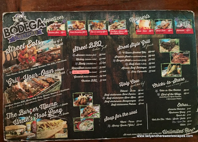 Bodega Streetfood menu and prices