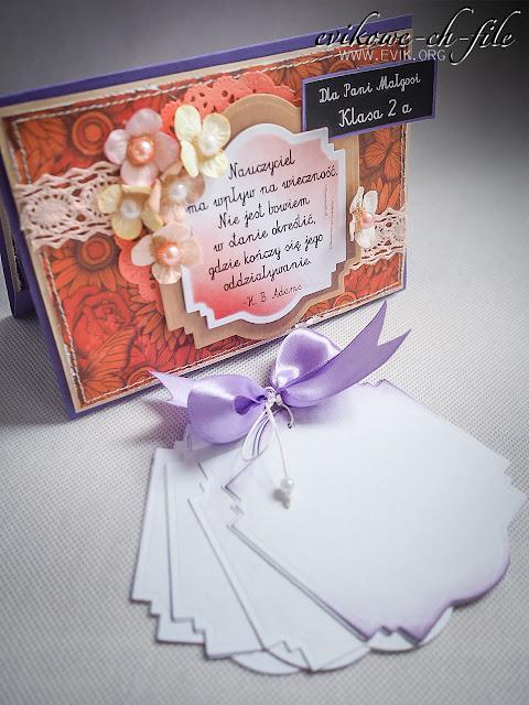 rękodzieło, kartka ręcznie robiona, koniec roku, podziękowania dla pani. Ewa Jarlińska, Evik, Evikowie ch-file