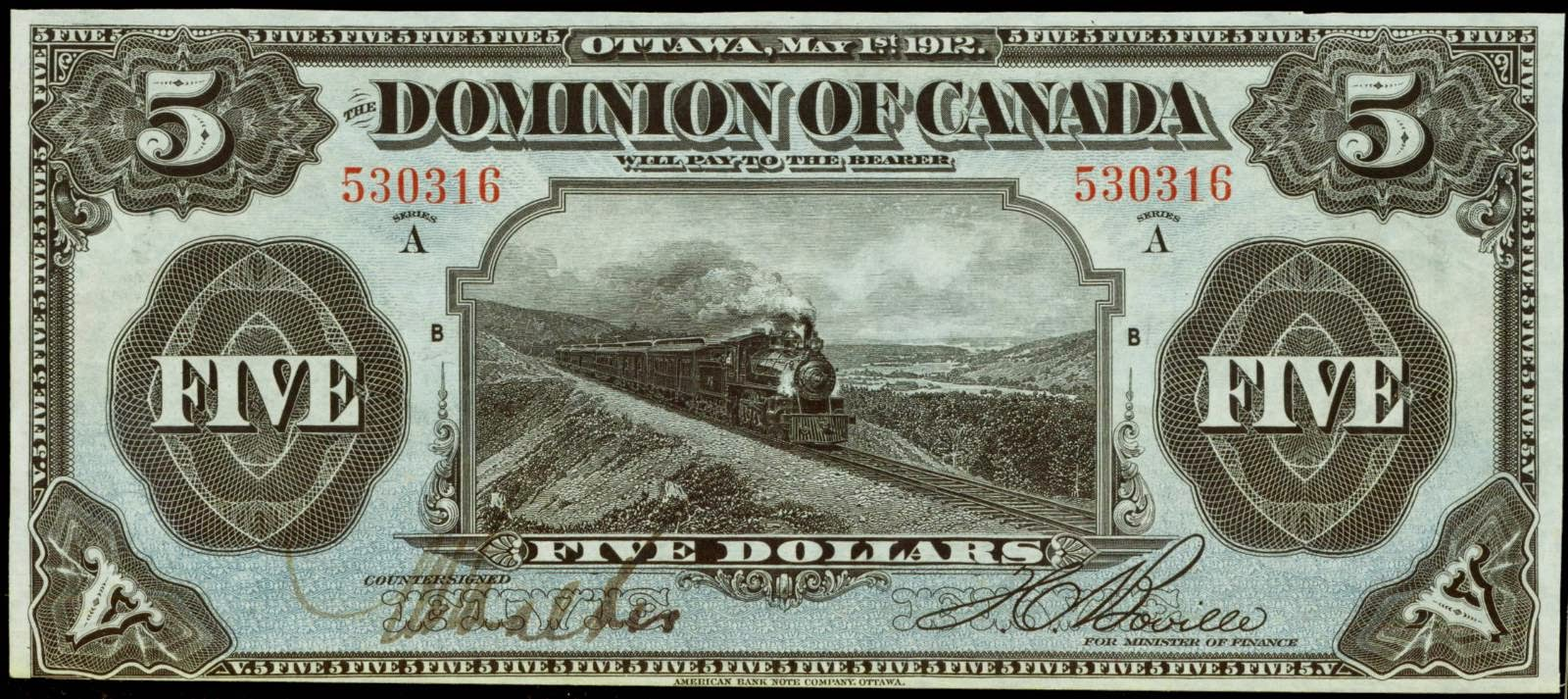 Dominion of Canada 5 Dollars banknote 1912 Train Note