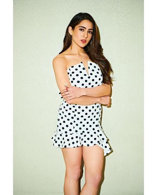 Sara Alin Khan in a hot White black-dotted dress