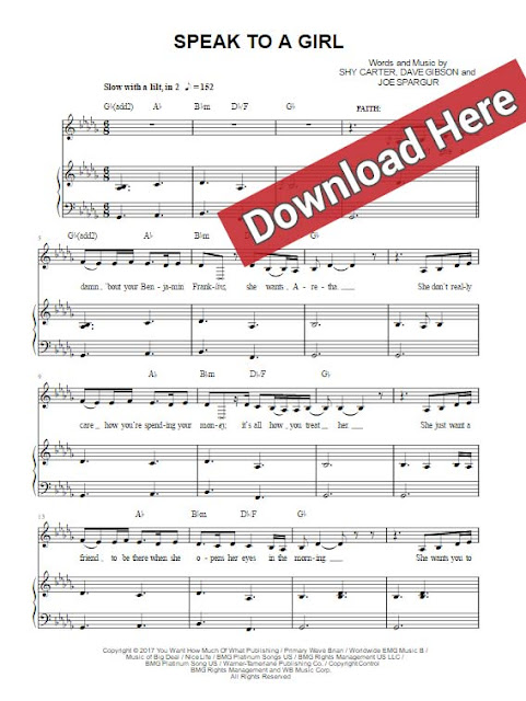 tim mcgraw, faith hill, speak to a girl, sheet music, piano notes, chords, download, keyboard, voice, vocals, pdf
