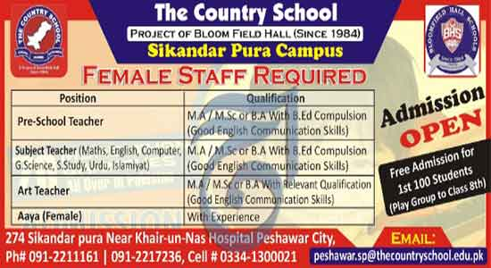 The Country School sikandar pura campus peshawar Jobs