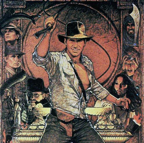 Imagen de Indiana Jones. Detalle del cartel de la película: En busca del Arca perdida. Muestra a Harrison Ford con su látigho