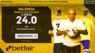 betfair supercuota Valencia gana a Las Palmas 3 enero