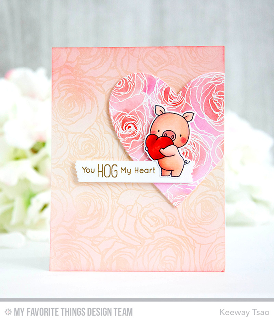 Handmade card from Keeway Tsao featuring Birdie Brown Hog Heaven stamp set and Die-namics, Roses All Over Background stamp, Heart STAX and Blueprints 13 Die-namics #mftstamps