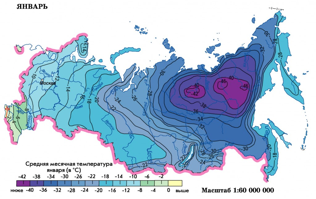 Russia temperature January map