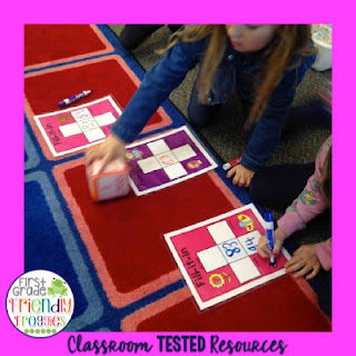 Students practice 10 more, 10 less, 1 more, 1 less while playing and having fun with partners!