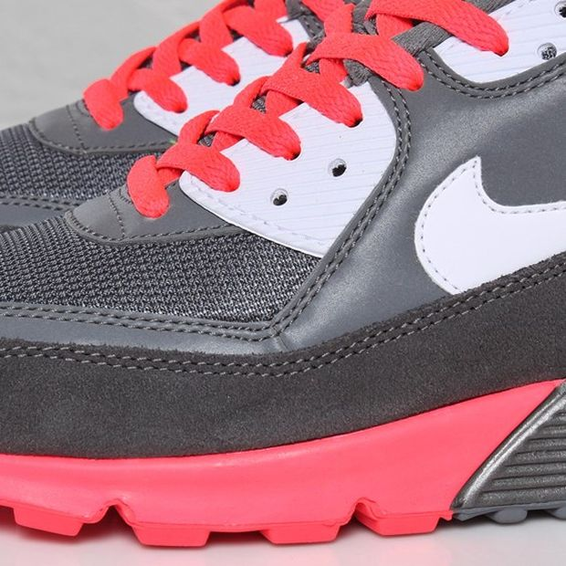 1580b4b45a0 ... Nike Air Max 90 Metallic Silver   Solar Red Sneaker from the tri-color  pack