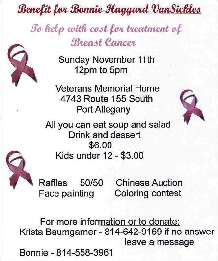 11-11 Benefit for Bonnie Haggard VanSickles