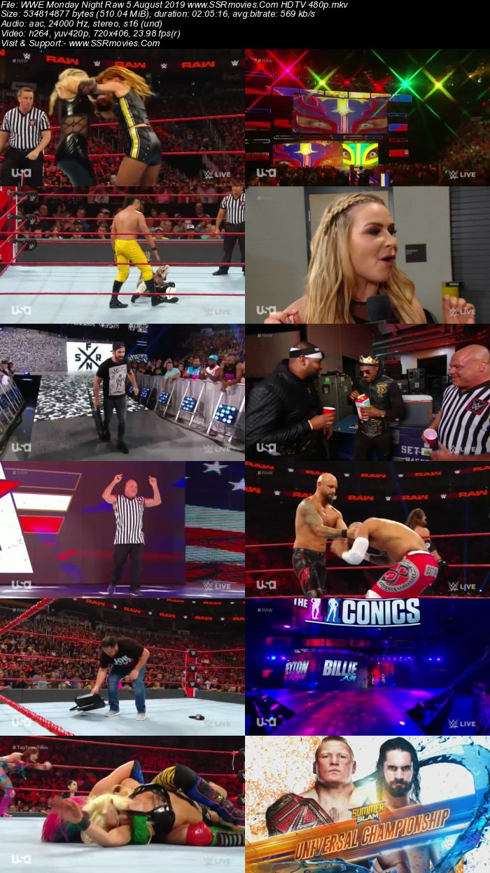 WWE Monday Night Raw 5 August 2019 Full Show Download HDTV WEBRip 480p 720p